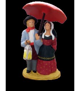 Crèche provençale - Couple au parapluie