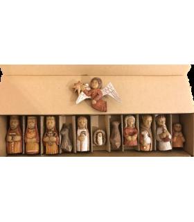 Crèche petits santons de bois- boîte carton