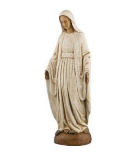 Vierge Notre Dame de grâce - Bois - 32 cm - manteau blanc