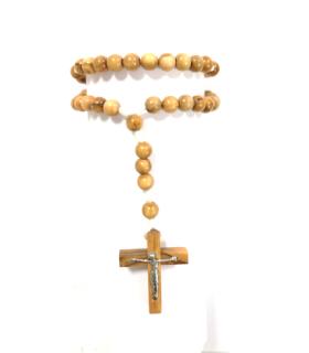 Chapelet avec croix crucifix bois olivier noeud blanc