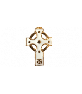 Croix celte émail ivoire