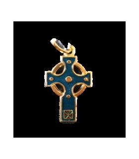 Croix celte émail bleu
