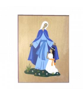 Plaque bois  - Marie, ma mère 10.5 cm x 13.5 cm