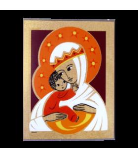 Plaque bois - Vierge couronnée 10.5 cm x 13.5 cm