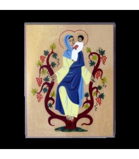 Plaque bois  - Vierge à la Vigne 10.5 cm x 13.5 cm