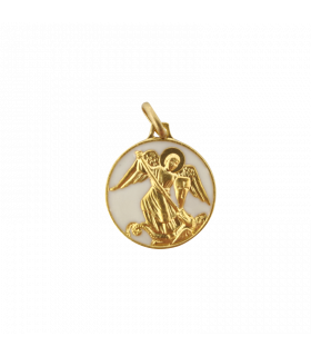 Médaille St Michel laiton émail blanc