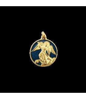 Médaille St Michel émail bleu azur