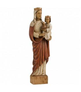 Vierge Marie Reine - Bois - 34cm - Blanche Rouge