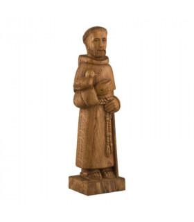 Saint François d'Assise en bois - 15 cm