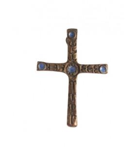 Croix en bronze émail bleu