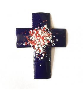 Croix latine émaillée - bleu foncé