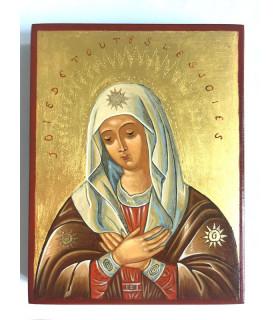 Icône Vierge au trône dorée à la poudre d'or 13 x 17cm