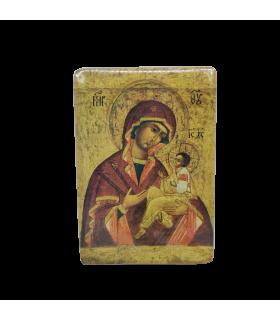 Icone mère de Dieu, Russie XVIIIè 14 cm x 10 cm