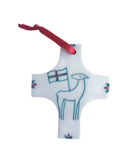 Croix agneau ruban rouge