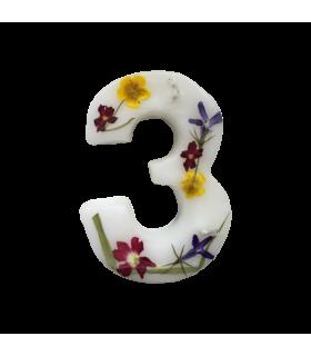 Bougie chiffrée 3 fleurie