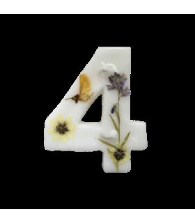 Bougie chiffrée 4 fleurie