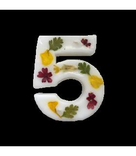 Bougie chiffrée 5 fleurie