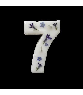 Bougie chiffrée 7 fleurie