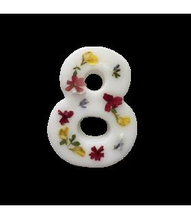Bougie chiffrée 8 fleurie