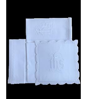 Pack linge d'autel 4 pièces brodés IHS