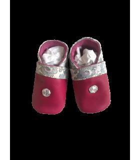 Chaussons bébé cuir 0-5 mois fille