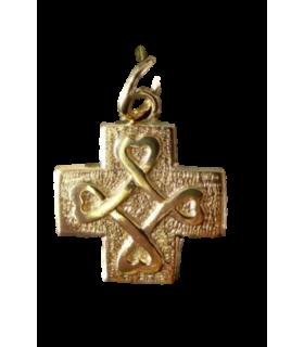 Médaille croix cœur plaqué or