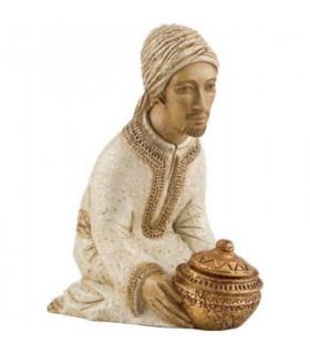 Mage à genoux Gaspard blanc bronze