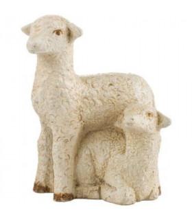 Brebis et agneau - dolomie - 11 cm